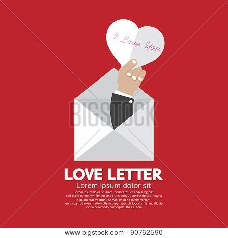 Heart In Hand Love Letter Concept.