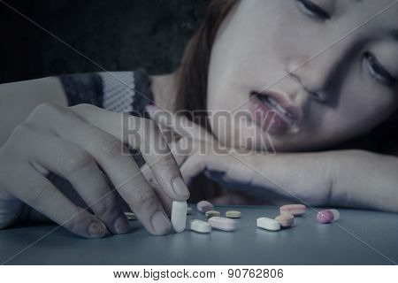 Teenage Drug Addict With Medicine
