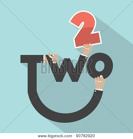 Hands With Number Two Typography Design.