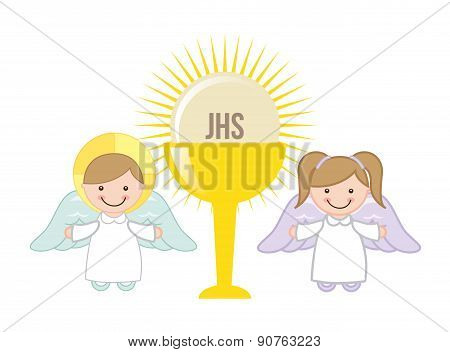Eucharist design over white background vector illustration