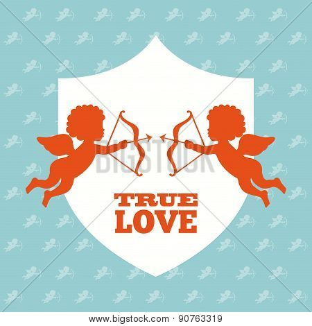 True love design day over blue background vector illustration