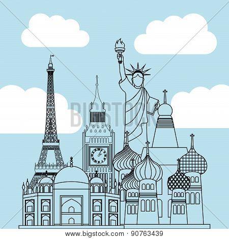 International travel design over sky background vector illustration