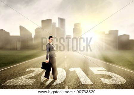 Woman Standing On The Way To Future