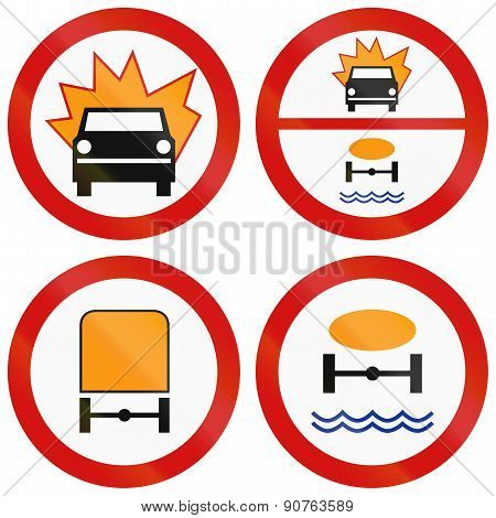 Dangerous Goods Prohibition Signs In Poland