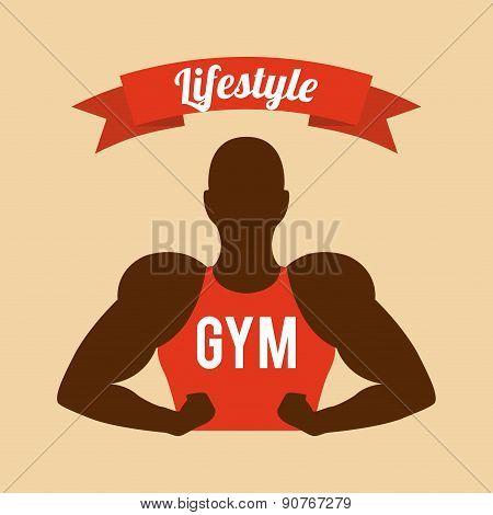 Fitness and sports design over beige background vector illustrat