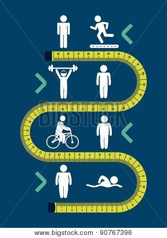 Fitness and sports design over blue background vector illustrati