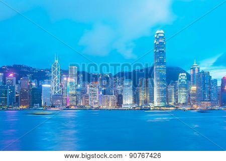 Hong Kong Island View From Kowloon.