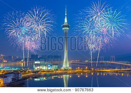 Fireworks In Macau City, China