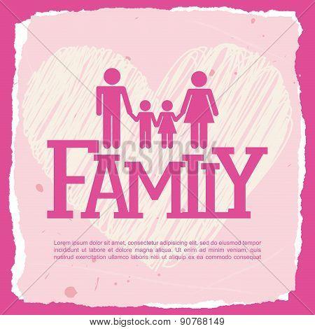 Family design over pink background vector illustration