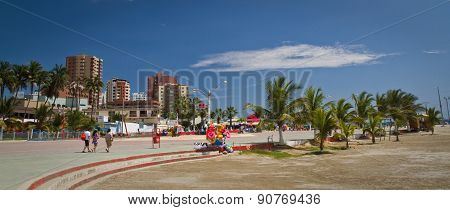 Beautiful panorama of esplanade in touristic Murcielago beach, Manabi, Ecuador