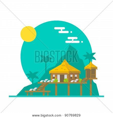 Flat Design Of Beach Villa