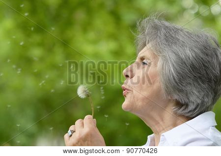 elderly woman on a walk