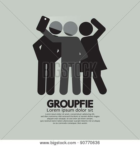 Groupfie Symbol, A Group Selfie By Phone.