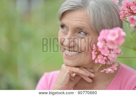 Older woman with flowers