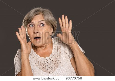 frightened old woman