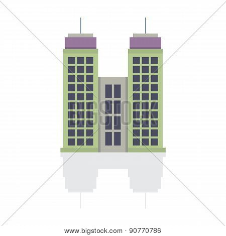 Single City Building On White Background.