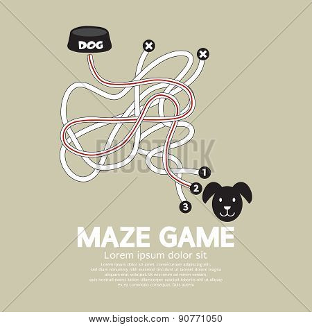 Maze Game With Dog And Bowl.