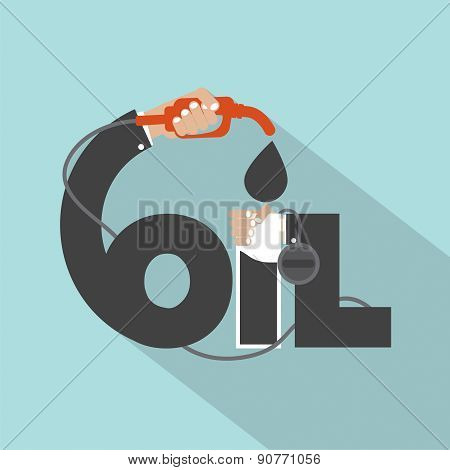 Fuel Nozzle  In Hand With Oil Typography Design.