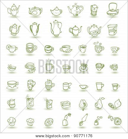 Cups And Teapots Doodles