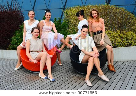 Beautiful Girls Celebrating Spring In Vilnius City