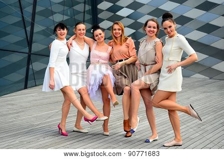 Beautiful Lovely Girls Dancing In Vilnius City
