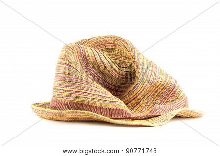 Colored straw hat on a white background