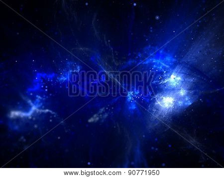 Young Stars With Nebula In Space