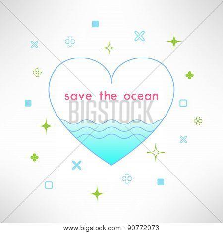Vector save the ocean background in modern flat design. Sea ecology design element