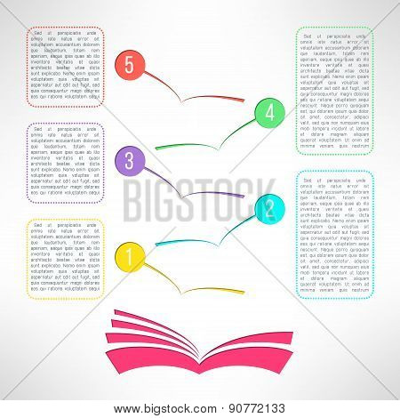 Vector book with business process steps infographic elements. Options choice, instruction or present