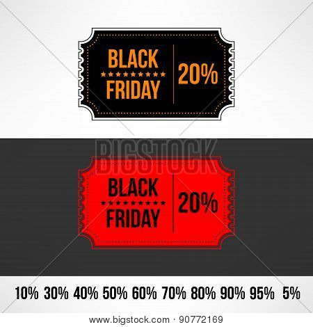 Vector black friday sale ticket. Retail discount banner