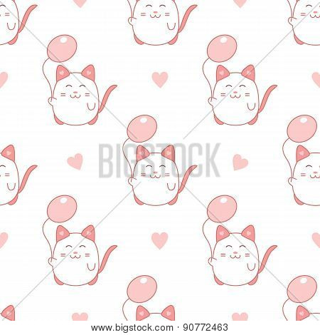 Cute seamless pattern with cat and balloon