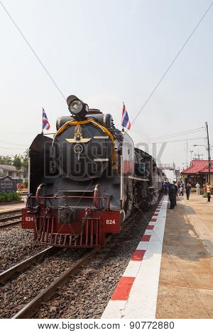Ayuthaya Thailand -march 28 : Locomotive Trains Parking In Bangpain Railways Station On Special Trip