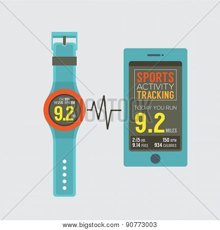 Sport Watch With Smartphone Activity Tracking Synchronize.