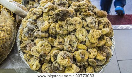 Dried candied figs on the market