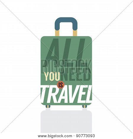 Single Luggage Of Traveler.