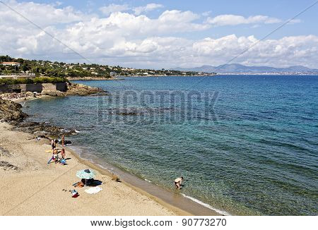 Beach View In The French Riviera
