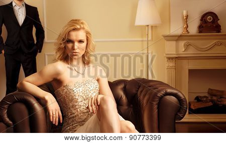 Luxury woman in rich interior