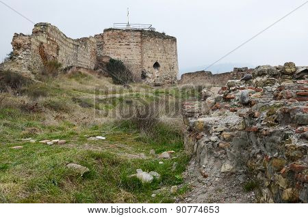 Dilapidated walls of Narikala fortress in cloudy day. Tbilisi