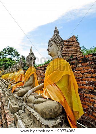 The Old Beautiful ancient  at temple,Ayutthaya, Thailand