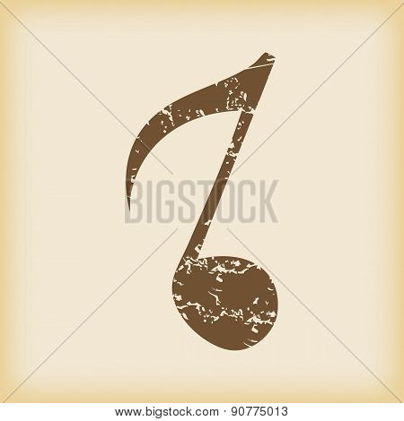 Grungy eighth note icon
