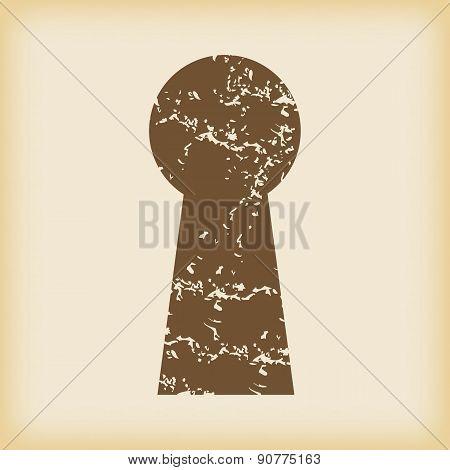 Grungy keyhole icon