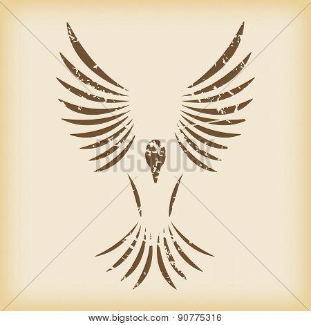 Grungy flying bird icon