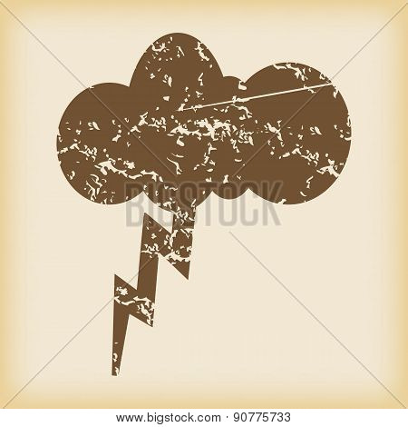 Grungy thunderstorm icon