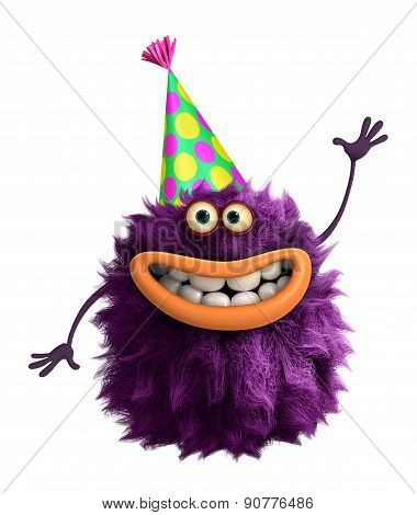 Purple Cartoon Hairy Party Monster 3D