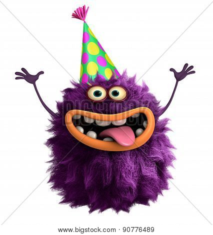 Party Cute Purple Cartoon Hairy Monster 3D
