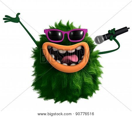 Musician Green Cartoon Hairy Monster 3D