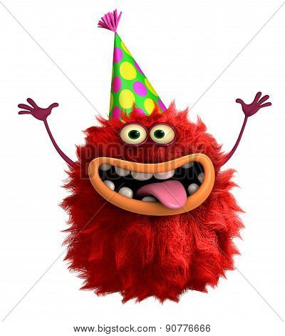 Cartoon Hairy Birthday Monster 3D