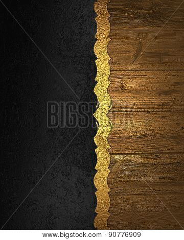 Element Of Black Texture With Gold Wooden Nameplate. Design Template. Design For Site