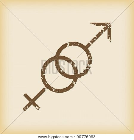 Grungy gender symbols icon