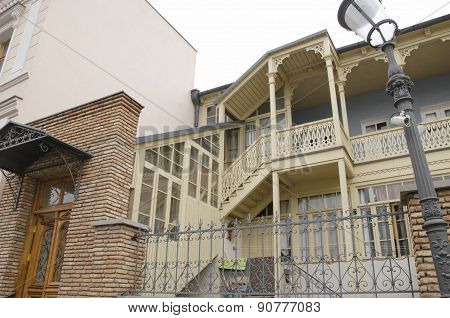 The unusual architecture of Tbilisi. Traditional carved balconies